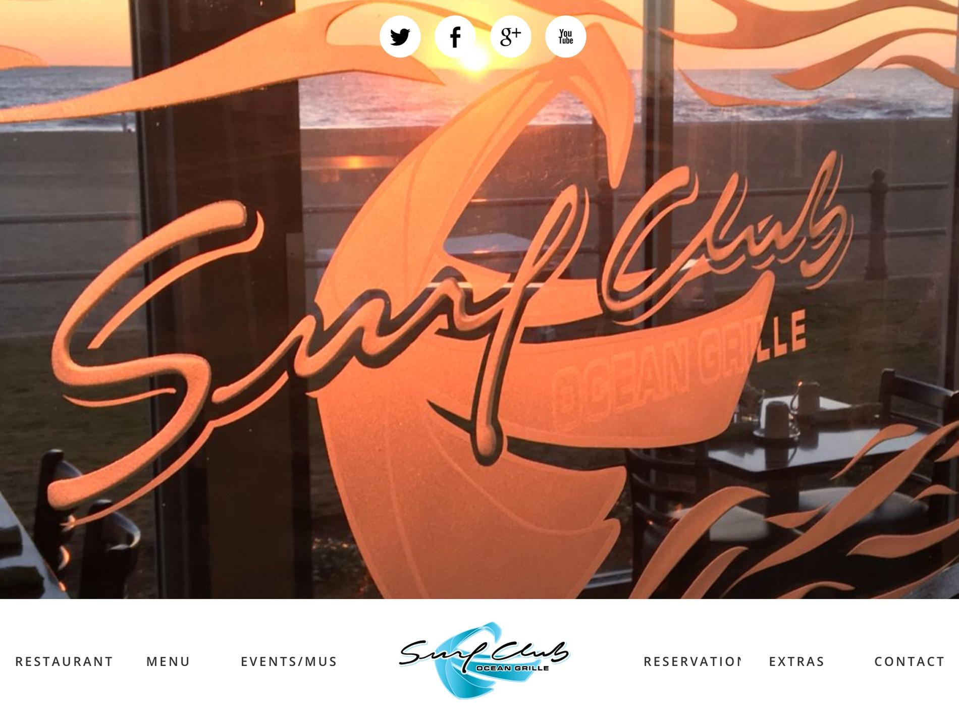 responsive website, surf club ocean grille